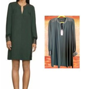 NWT BCBGMaxAzria Lylee Faux-Leather-Trimmed Dress